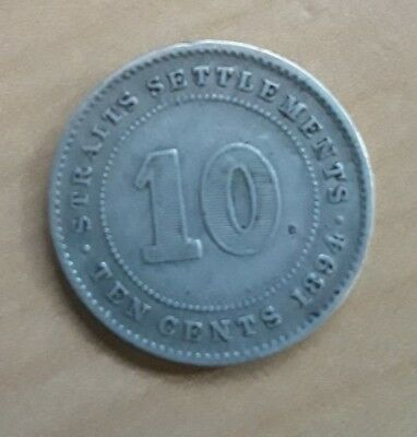 1894 Straights Settlement 10 Cents