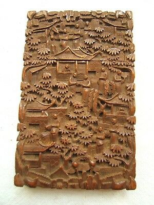 Chinese Canton Carved Wood Calling Card Case Village Scene Exc Qual 19Th