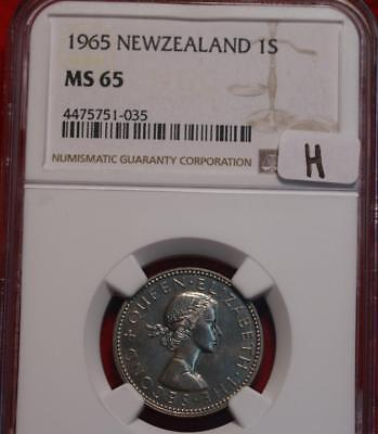 1965 New Zealand Shilling Coin NGC Graded MS 65