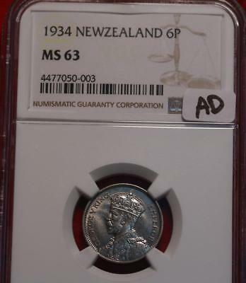 1934 New Zealand 6 Pence Coin NGC Graded MS 63