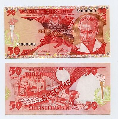 Tanzania 50 shs Specimen Banknote in UNC condition