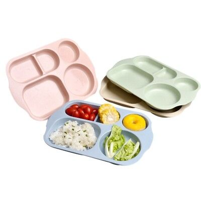 Kids Baby Placemat 4 Compartments Food Plate 1PC Enviornmental Table Food Plate