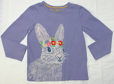 Girls Mini Boden Embroidered Shirt 7-8 Purple Rabbit Bunny Cotton O50