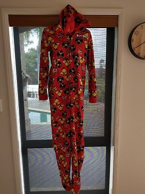 New without tags Angry Birds jumpsuit sleepwear Boys Size 14 With Hood