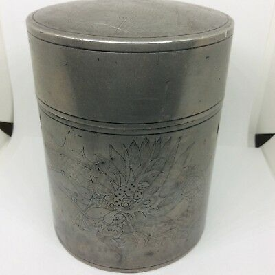 Kut Hing Chinese Pewter Swallow Dragon Tea Caddy Cannister Box c1900