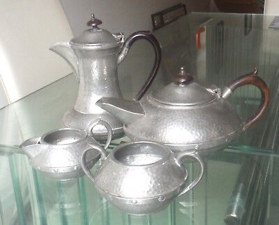Arts And Crafts Planished Sheffield Pewter 4 Pc Tea Set-Craftsman *