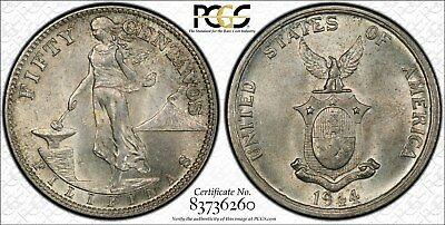 US/Philippines 1944-S Fifty Centavos Type I (Rev. of 1921) PCGS MS62