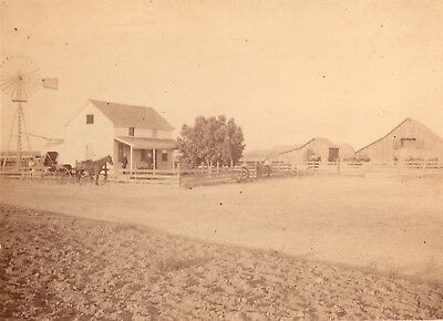 1880-1890's Old West Ranch House Horse Buggy Windmill Photograph