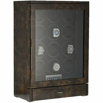12 Automatic Watch Winder Dark Burl Wood Finish Tower Series By Aevitas