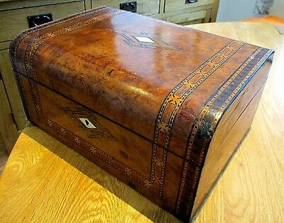 Victorian Burr Walnut Sewing/jewellery Box,inlay Bands,lovely Red Lined Interior