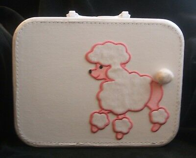 Vintage Refurbished Small White Suitcase Make Up Case  With Poodle