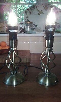 Matching Pair of Barley Twist Antique Brass Table Bedside Lamp no shades 2