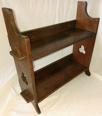 Arts & Crafts Oak Book/Display Shelf Stand Pegged wall mount or free standing