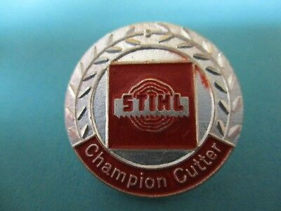 Vintage Timbersports   Stihl Chainsaw Pin Pinback Champion Cutter Hard To Find