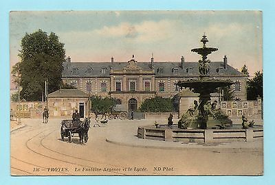 Cpa Troyes - La Fontaine Argence Et Le Lycee ( Aube )