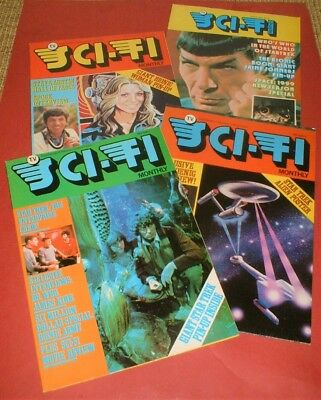 4 x SCI-FI MONTHLY MAGAZINES # 5 6 7 8 - Star Trek Dr Who Space 1999 + posters
