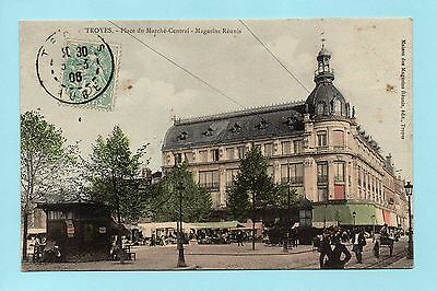Cpa Troyes - Place Du Marche Central - Magasins Reunis ( Aube )