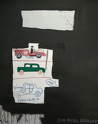 Neo Expressionist Cool Jean Michel Basquiat replica painting (Cars/Untitled)