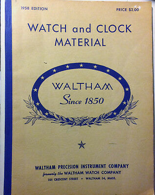 Vintage 1958 Waltham Watch and Clock Material Illustrated Catalogue