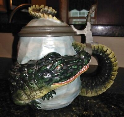 Antique Vintage German Alligator Wrap Character Stein Crocodile Unmarked Bohne ?