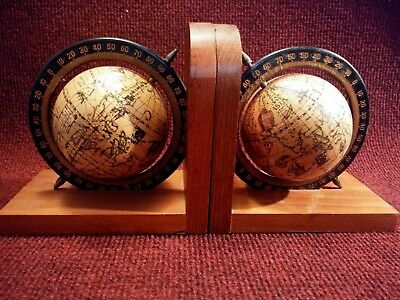Bookends. Spinning Old World Globes On Wood Base.