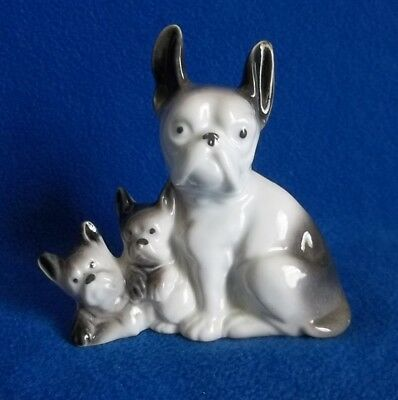Vintage Boston Terrier / French Bulldog with Pups Figurine Statue Made In Japan