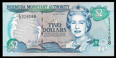 World Paper Money - Bermuda 2 Dollars 2000 P50a @ UNC