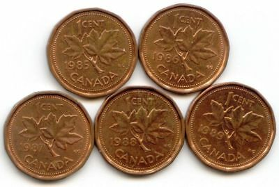 Canada 1985 1986 1987 1988 1989 One Cent Canadian Pennies Penny 1c EXACT SET