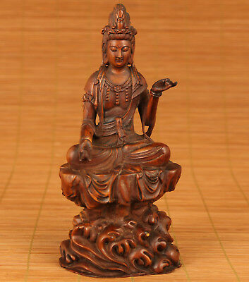 Rare Chinese Old Wood Hand Carved Stone Kwan-yin buddha Figure Statue Decoration