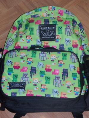 Minecraft Printed Backpack Book Bag With Attached Lunch Box Back To School New