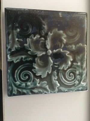 "Antique Trent 4.25"" Blue Art Nouveau Ceramic Tile Trenton NJ Cerulean"