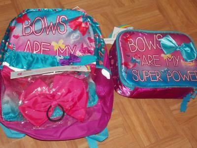 Jojo Siwa Sequin Backpack Book Bag With Lunch Box Bow Back To School New