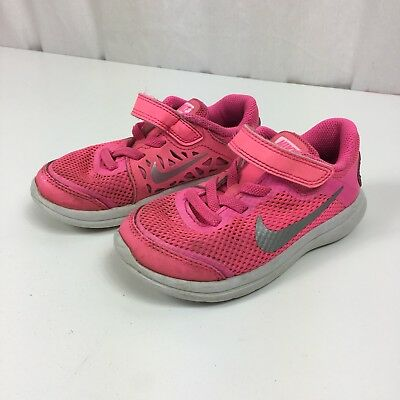 Nike Girls Flex RN Running Shoes Athletic Pink Gray 834285-600 Toddler Size 9 9C