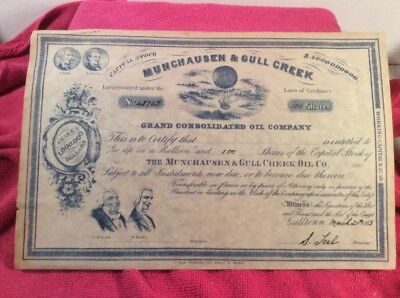 Extremely Rare 1865 Munchausen & Gull Creek Grand Consolidated Oil Company Stock