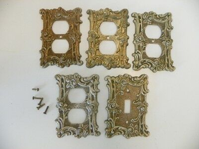 1967 Vintage At & Hc, American Tack Hardware Co Ornate Cover Plates Gold Finish