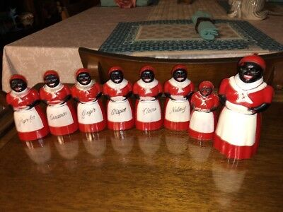 Vintage BLACK AMERICANA*AUNT JEMIMA * 6 pc SPICE SET* Pepper Shacker & Syrup 8pc