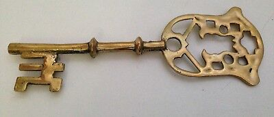Vintage Brass Decorative Large Key w/ Cutout Design