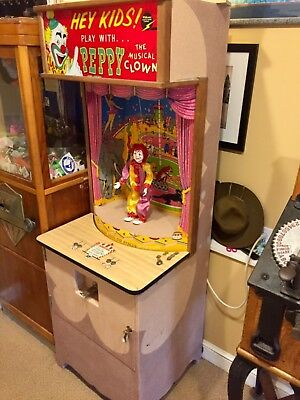 1956 PEPPY THE CLOWN 10c dime vintage arcade puppet Hazelle - FULLY WORKING