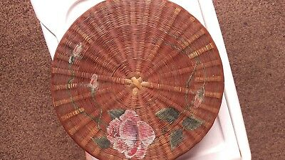 Old Handmade, Handpainted Chinese Bamboo Basket