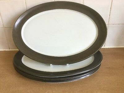 Denby Chevron 4 x 32 cm Oval Steak Plates