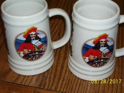 Pair of ceramic Captain Morgan mugs ~ Capt. Morgan pirate