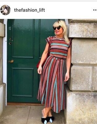 Bnwt Zara Knit Striped Midi Skirt Size M Fit 10-12 As Seen On Bloggers Sold Out!