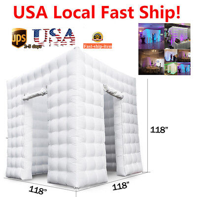 3M 2 Door Inflatable LED Air Pump Photo Booth Tent Fun Party Exhibition 110V USA