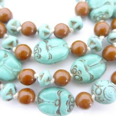 Vintage Czech Neiger Scarab Necklace  - Art Deco Egyptian Revival Glass Beads