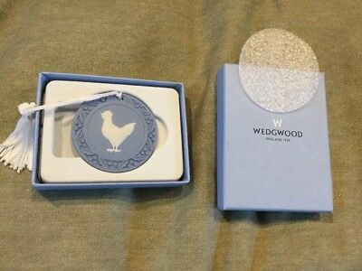 Wedgwood Christmas Ornament French Hen, White On Blue, New In Box