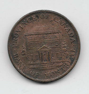 World Coins - Canada Bank Of Montreal 1/2 Penny 1844 Coin