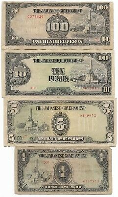 Rare Very Old Japanese WWII Japan War Dollar WW2 Note Collection Lot Full Set