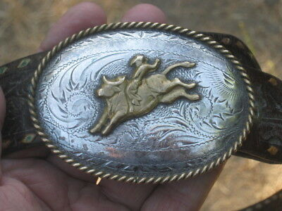 Vintage Tex Tan Bull Rider Sterling Silver Front Western Belt Buckle with Belt