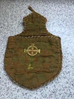 Unusual and rare antique fabric purse embroidered medieval? .