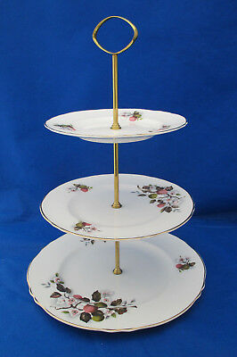 Crown Staffordshire 3 Tier Serving Tray F15743 Pink Green Apples Blossoms EUC